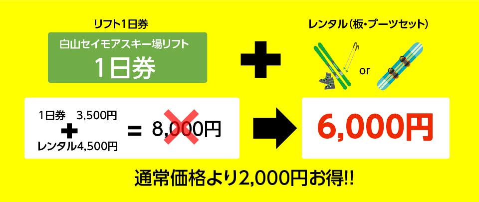 リフト1日券とレンタル(板・ブーツセット)セットで6,000円